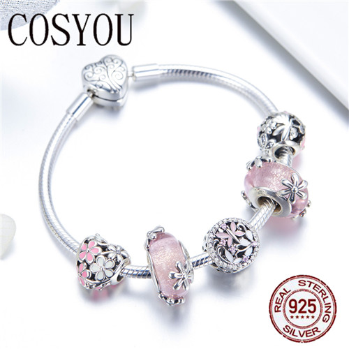 COSYOU 2019 925 argent Sterling jardin fée rose perles de verre européennes bracelets porte bonheur et bracelets bijoux en argent Sterling SCB821 - 4