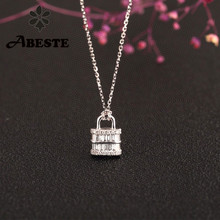ANI 18K Solid White Gold Necklace Women Engagement Necklace Birthday Gift Ring and Lock Shape Pendant Diamond Proposal Necklace
