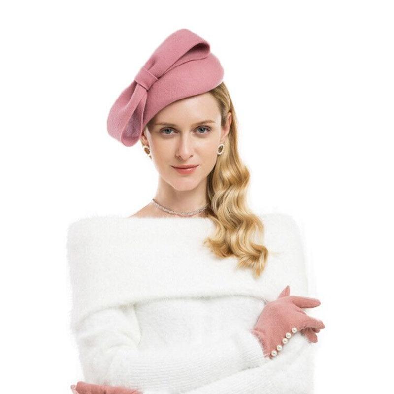 Lawliet  Teardrop Womens 1940s Vintage Look Wool Felt Fascinator Hat Bow Detail Tam Beret Casque Cocktail Hat A568
