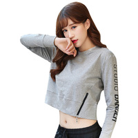 Fall/winter new Korean T shirt fashion loose with zipper exposed navel long sleeve vests lady fitness clothing women