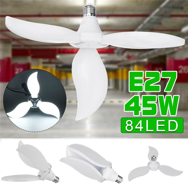 LED Garage Lamp Deform Light Foldable Fan Blade LED Pendant Light E27 Bulb 360Degrees Angle Adjustable 6500K Ceiling Lamp85-265V