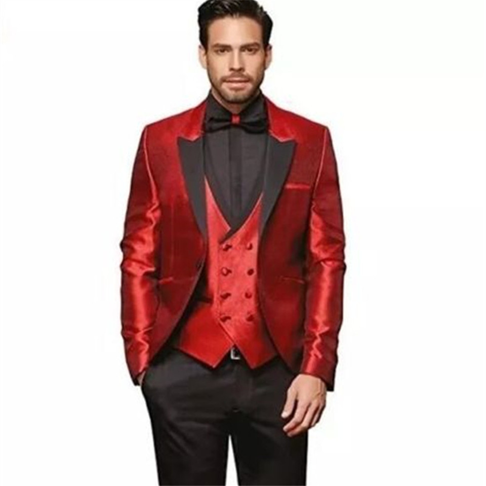 New Classic Men's Suit Smolking Noivo Terno Slim Fit Easculino Evening Suits For Men Red Wedding Groom Tuxedos Masculino Blazers