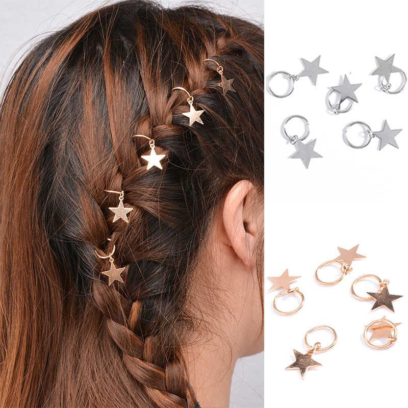 5 Pcs Lucu Twist Braid Rambut Ornamen Daun Shell Bintang Lingkaran Ring Kepribadian Braid Liontin Aksesoris Rambut untuk Wanita anak Perempuan