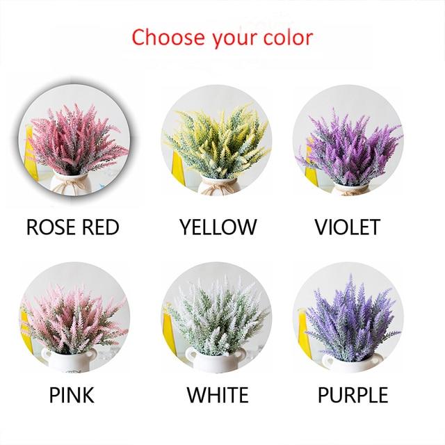 1 Bundle Artificial Flowers Romantic Provence Lavender Plastic Wedding Decorative Vase for Home Decor Grain Christmas Fake Plant 5