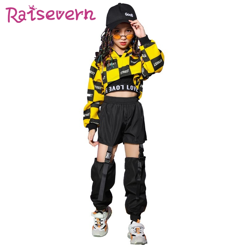 RAISEVERN Letter Plaid Print Children Crop Hoodies Hip Hop Kids Girls Printed Hoodie Tops 2020 Streetwear For Dance