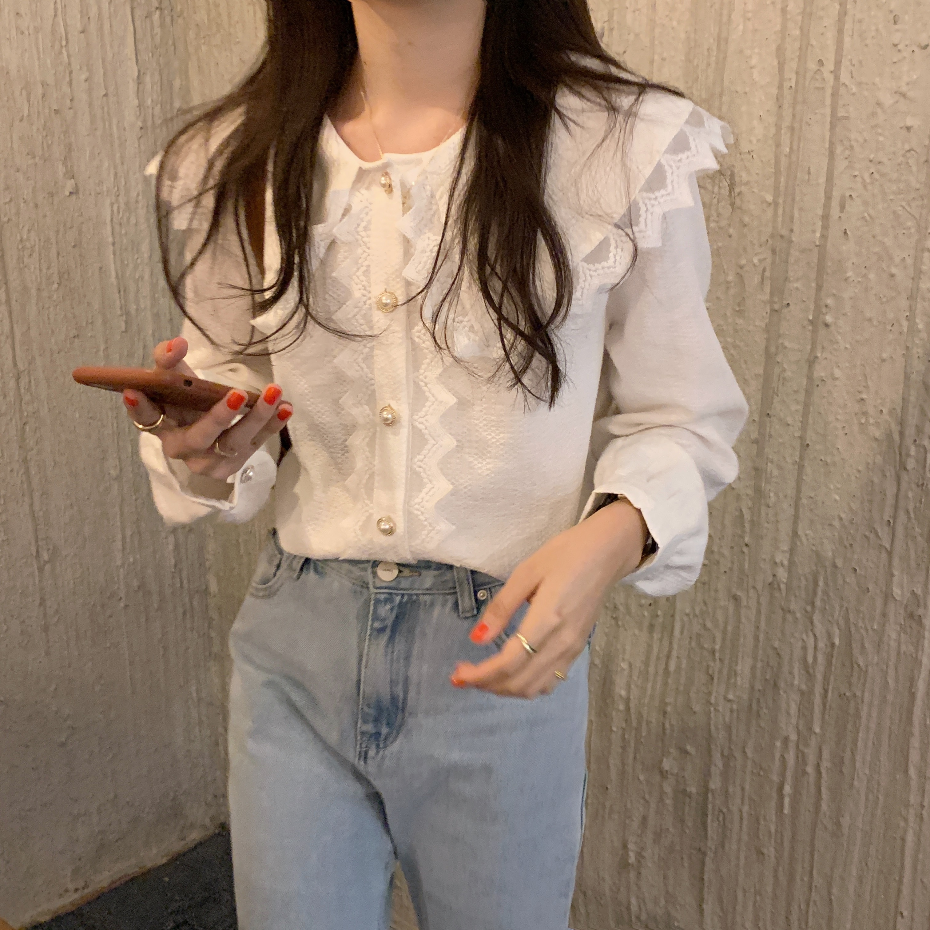 H1faf2c7e6b2f40c4826ce3617f6dca61C - Spring / Autumn Big Lapel Collar Long Sleeves Lace Buttons Solid Blouse