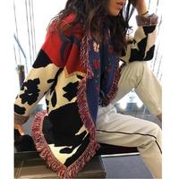 TEELYNN long cardigan women sweater Cow floral Jacquard fringe long sleeve warm coat boho knitted sweaters 2019 winter outwear
