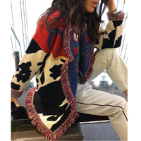 TEELYNN long cardigan women sweater Cow floral Jacquard fringe long sleeve warm coat boho knitted sweaters 2019 winter outwear