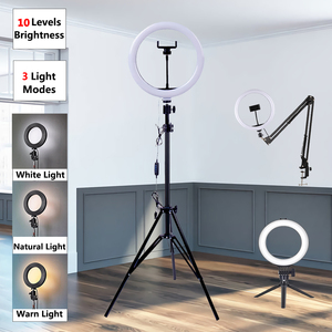 Dimmable LED Selfie Ring Light USB Selfie Light Ring Lamp Big Photography Ringlight 26cm With Stand For Phone Studio