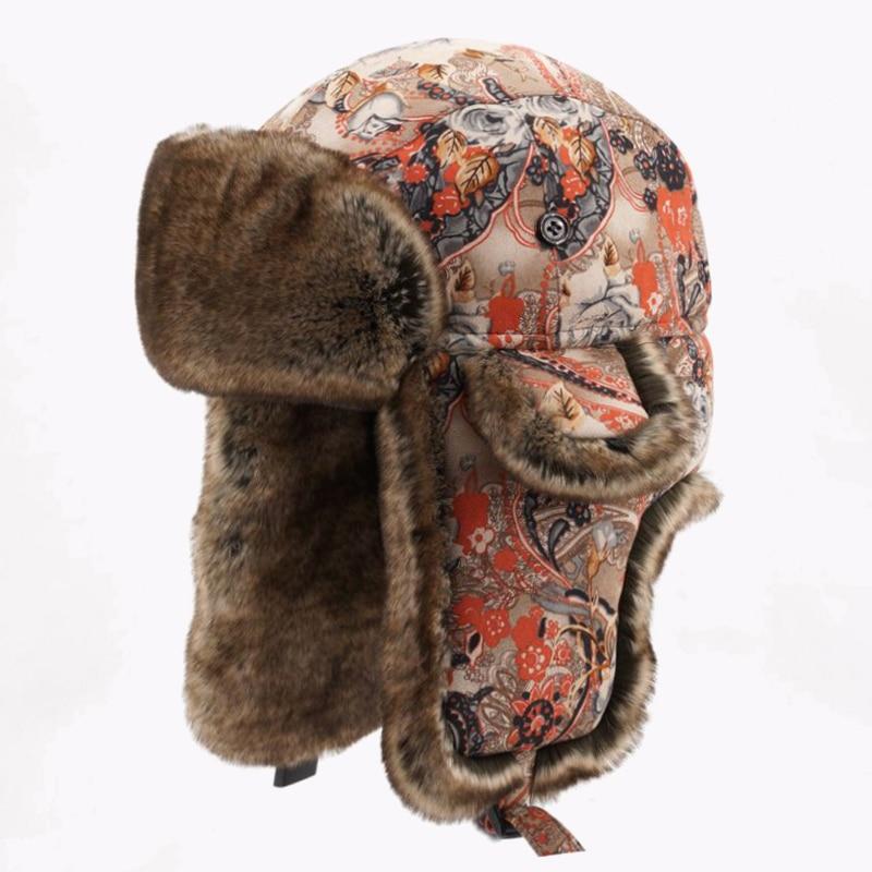 Women Winter Bomber Hat Floral Wool Fur Russian Ushanka Thicken Warm Bohemian Trapper Hats with Ear flaps