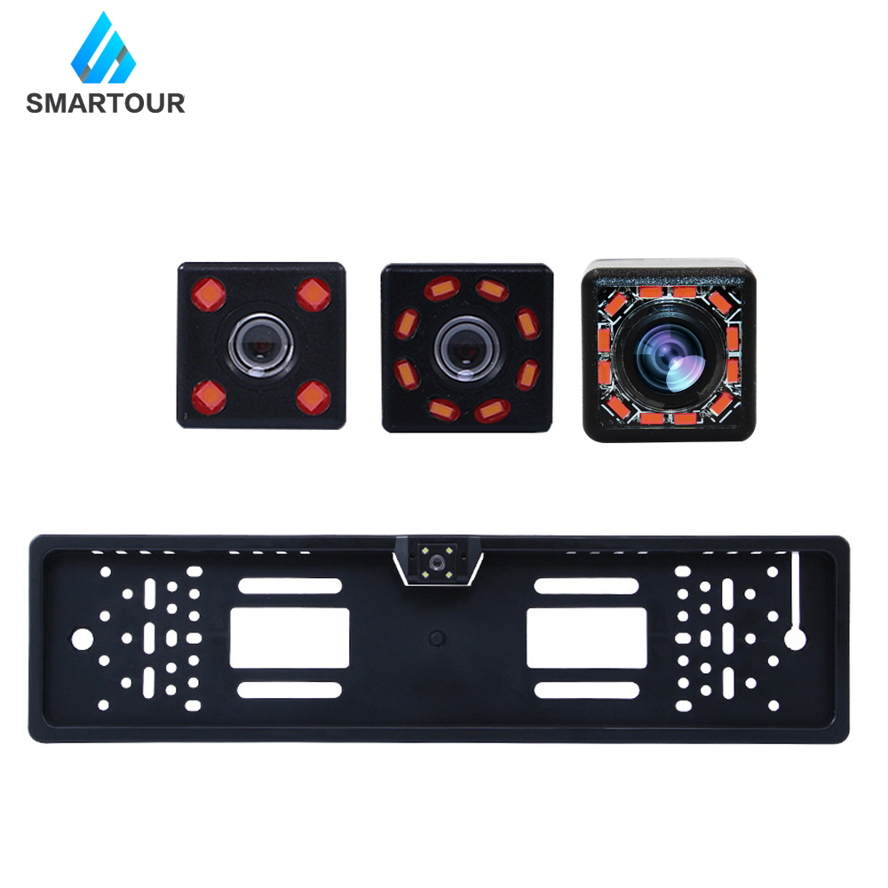 Smartour 140 European Car License Plate Frame Auto HD Reverse Rear View Backup Reversing Camera  Universal CCD LED Night Vision