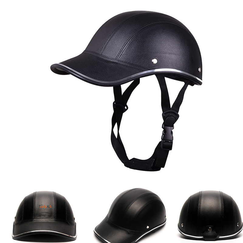 Motorcycle Bike Scooter Leather Half Open Face Baseball Cap Safety Helmet Hat