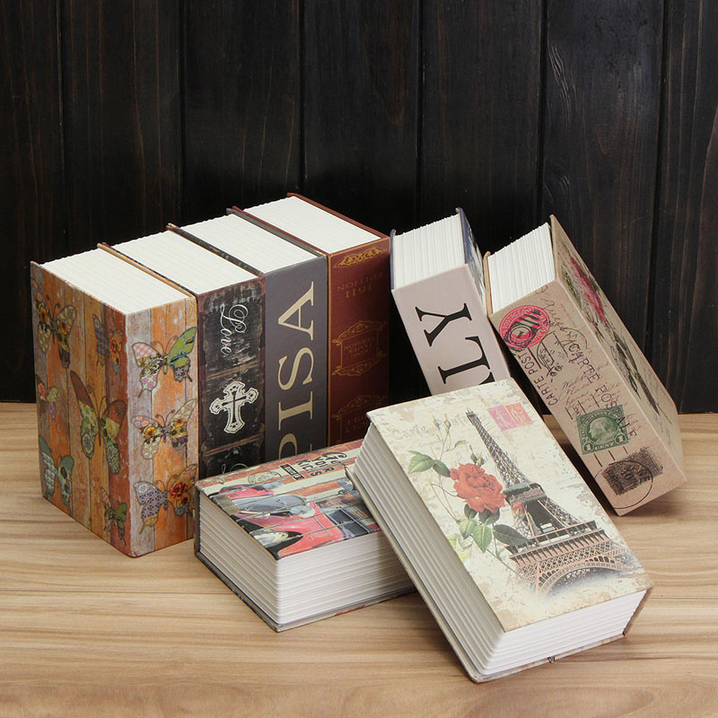 cheapest Book Safes Fun Simulation Key Lock Book box Metal Steel Cash Secure Secret Hidden Piggy Bank Storage Box  Size 18 11 5 5 5cm