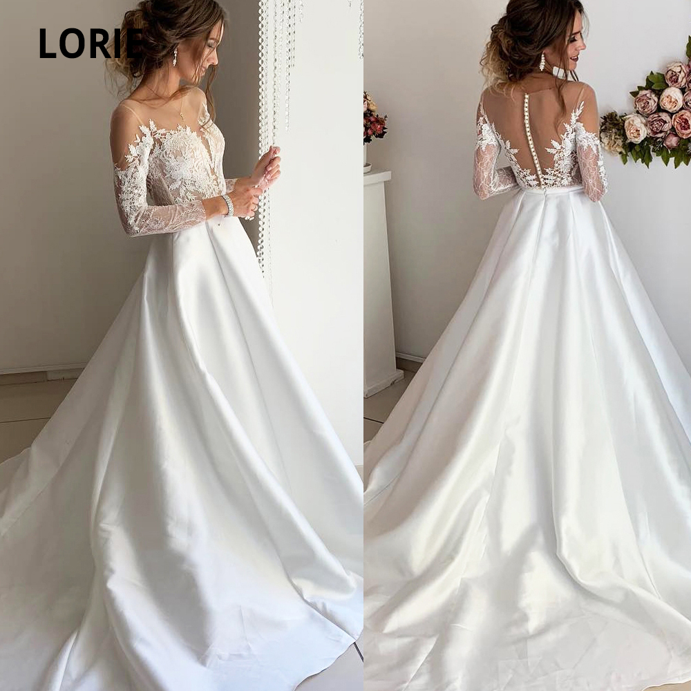 LORIE Elegant Lace Long Sleeve Satin Wedding Dresses Appliques Boho Bride Gown Beach Country Wedding Gown Court Train Plus Size