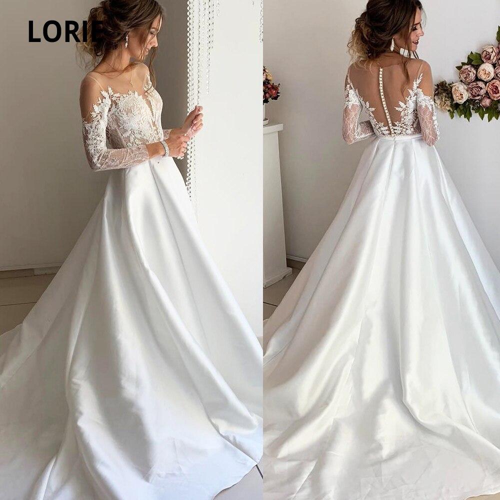 LORIE Elegant Lace Long Sleeve Satin Wedding Dresses Appliques Boho Bride Gown Beach Country Wedding Gown Court Train Plus Size