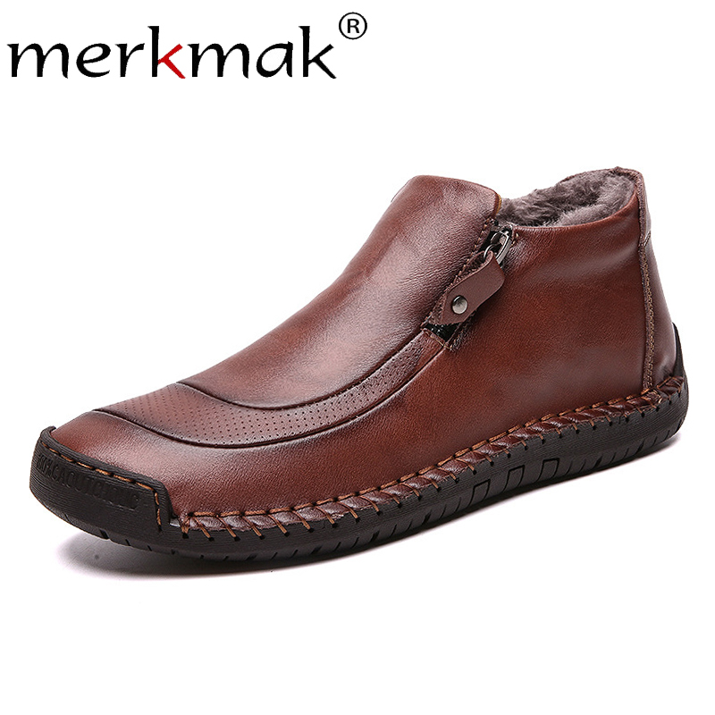 Men Casual Shoes Genuine Leather Men Work Boots Winter Cotton Loafers Cowhide Footwear Warm Cloth Shoes Ankle Safety  Boots