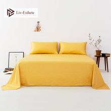 Liv-Esthete Women Noble 100% Silk Yellow Flat Sheet Silk Healthy Queen King Bed Sheet Pillowcase Home Textile Free Shipping