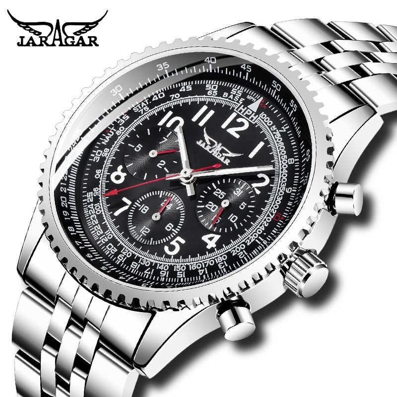 トップブランド Jaragar 男性自動機械式時計 Avigator シリーズシルバーステンレス鋼発光手高級腕時計