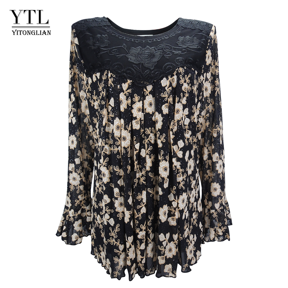 YTL Womens Plus Size Elegant Mature Floral Loose Tunic Top Shirt Sleeve Oversize Blouse Holiday Summer Shirt 6XL 7XL 8XL H036blouse shirtoversized blouseblouses plus -
