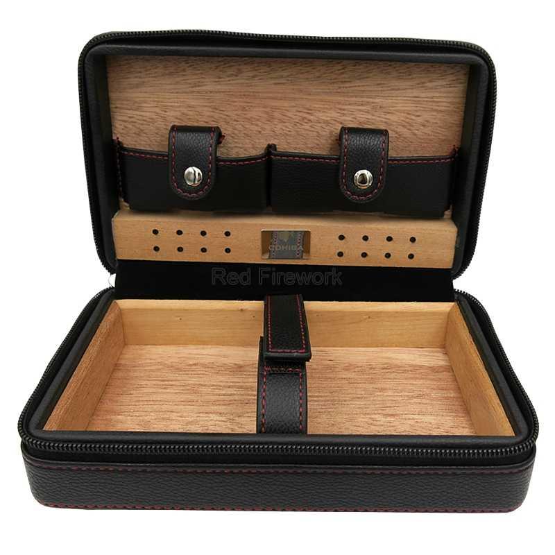 COHIBA высококачественный чехол для сигар портативный испанский кедр Дерево Кожа Путешествия Humidor с увлажнителем классический
