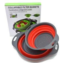 Colador de silicona plegable para cocina, Juego de 2 unidades, cesta colador de frutas y verduras para lavar, escurridor plegable, embalaje con caja