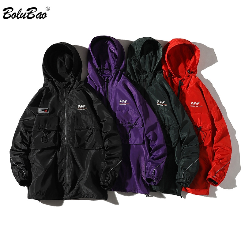 BOLUBAO Brand Men Fashion Jackets Spring Autumn Men's Hooded Jackets Letter Print Casual Male High Street Hooded Jacket Coats