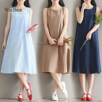 Summer cotton and linen dress Large size loose Slim vest dress girl casual Sleeveless dress Fashion korean version new fashion plus size women s green green dress korean version of summer slim green dress 2126