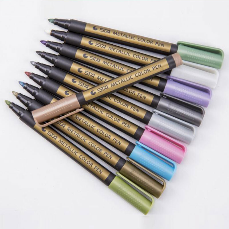 Sta 10Colors / Set Of Metal Micron Brush Pen Detailed Mark Color Album Drawing School Art Lettering Supplies Metal Marker Pens