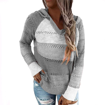 JODIMITTY Women Elegant Long Sleeve Hooded Knitted Autumn Striped Sweaters V-Neck Pullovers Tops Kni
