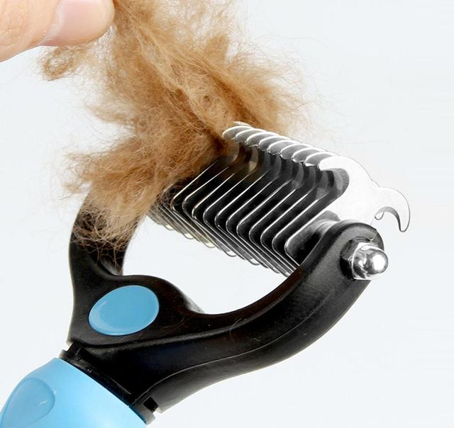Pet Grooming Brush Double Sided Shedding and Dematting Undercoat Rake  6