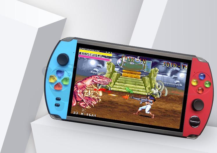 Powkiddy X19 nostalgic retro HD 7 inch large screen handheld game console double rocker design for FC arcade CPS NEOGEO