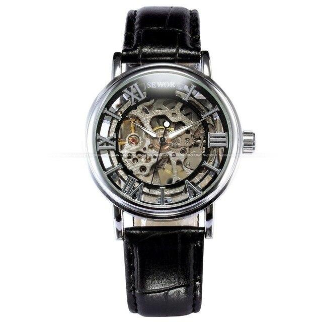 модные повседневные мужские часы sewor скелетоны механические фотография