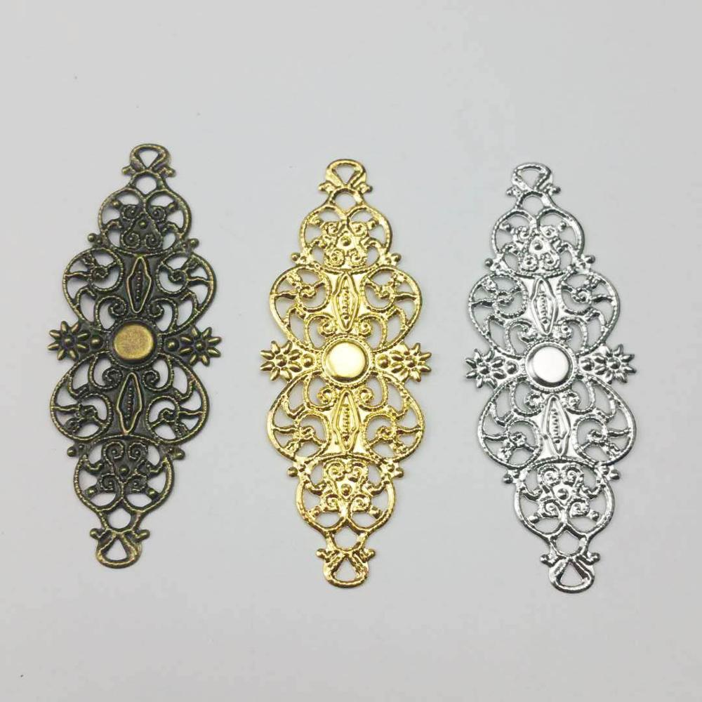 20pcs/lot 22x60mm 3Colors Metal  Filigree Flowers Slice Charms Settings DIY Components Jewelry Findings