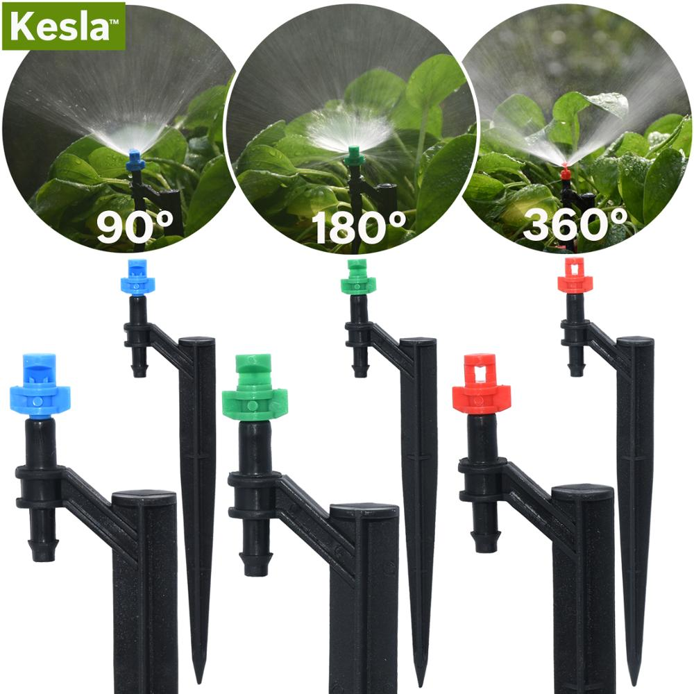 KESLA 20PCS 90/180/360 Degree Misting Nozzle 13cm Stake 1/4'' Barb Garden Irrigation Sprinkler Drip Irrigation Agriculture Farm