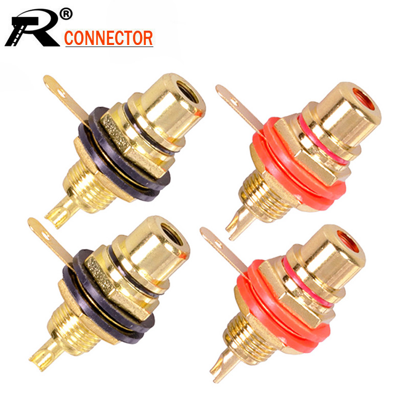 10pcs/lot RCA Connector Gold Plated Female Jack Socket Solder Wire Connector RCA Panel Mount Chassis  Wholesales