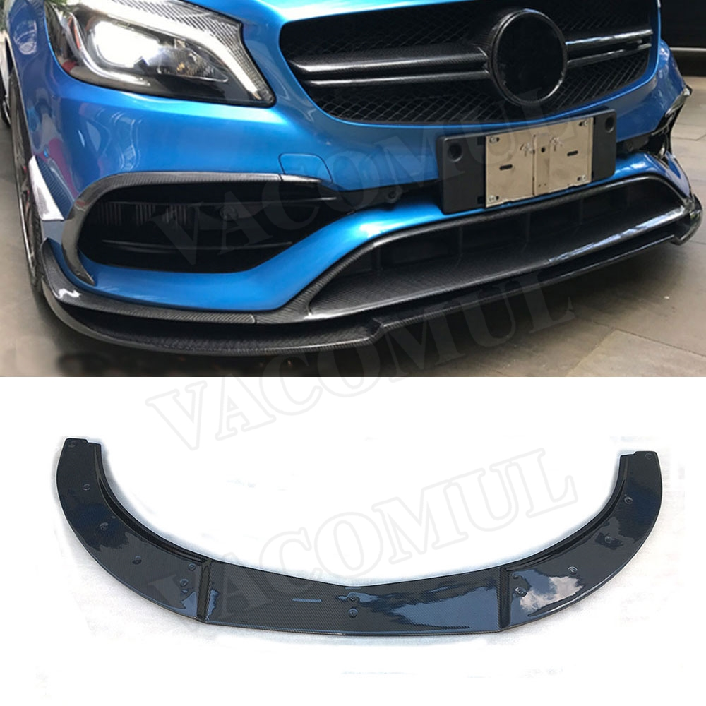 Carbon Fiber / FRP Front Bumper Lip Spoiler for <font><b>Mercedes</b></font> <font><b>Benz</b></font> A Class <font><b>W176</b></font> A180 <font><b>A200</b></font> A260 A45 AMG 2016-2019 Car Styling image