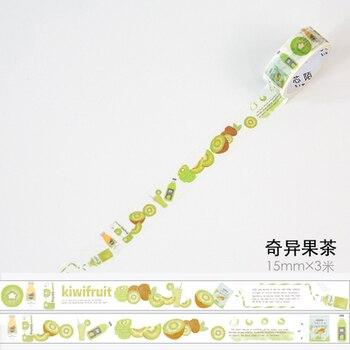 1.5cm 3m 1 Pcs We Love Fruit Design Green Kiwifruit Style Washi Tape DIY Scrapbook Sticker Label Masking Home Decor