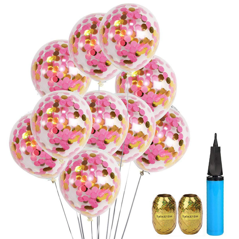20pcs Baby Shower Confetti Balloons 12 Inch Wedding Birthday Celebration Party Decorations With Air Pump Curling Ribbon Gift