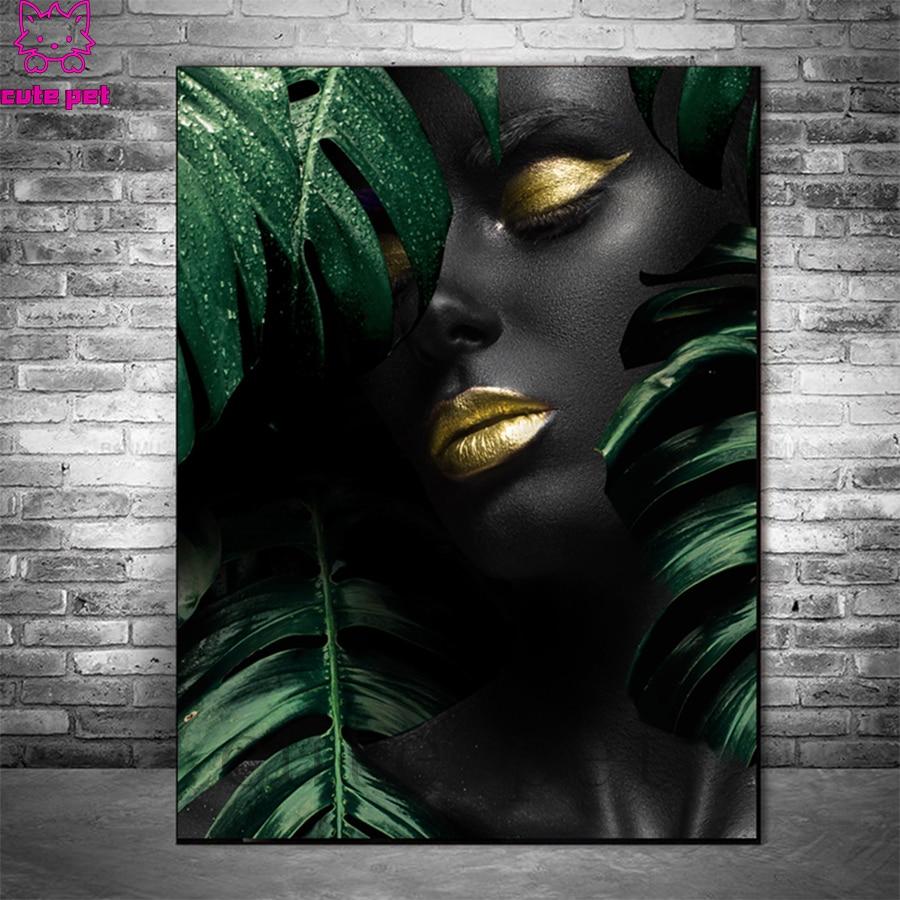 Полноразмерные Квадратные кристаллические картины, современное искусство, африканская черная женщина, зеленые листья, алмазная вышивка, п...