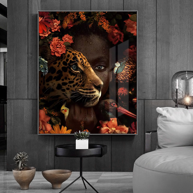 African Art Black Woman Tiger Rose Bird Oil Painting on Canvas Cuadros Posters and Prints Wall Art Picture for Living Room Decor(China)