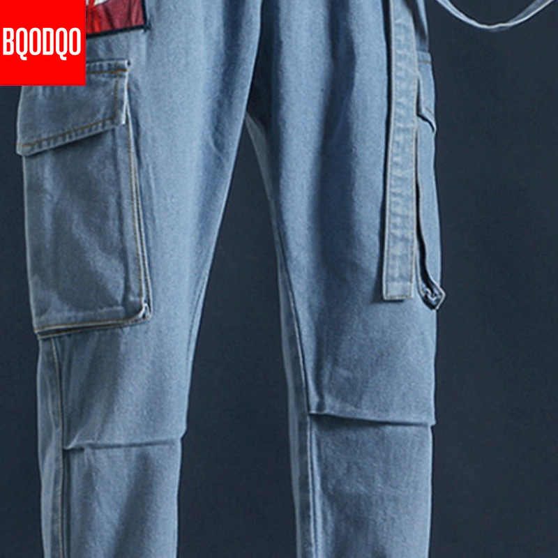 BQODQO Fashion Mutil Pocket Jeans Pants For Men Cartoon Print Casual Hip Hop Mens Trouser Joggers Japanese Streetwear Cargo Pant