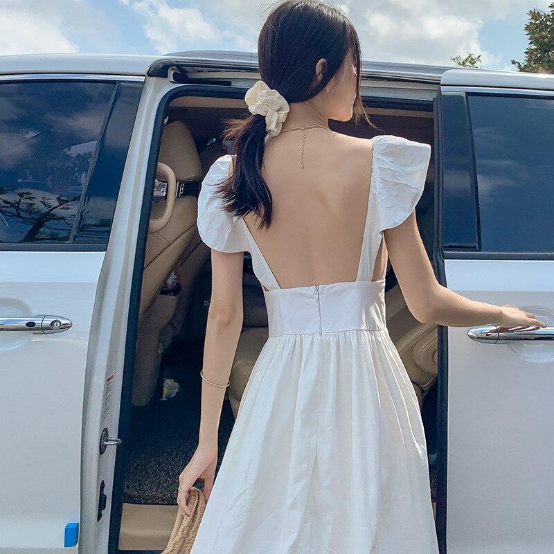 Photo Shoot Bali Beach High Grade Textured Flax Holiday Skirt Goddess Skirt Backless 3D Cutting Trip Shoot Formal Dress