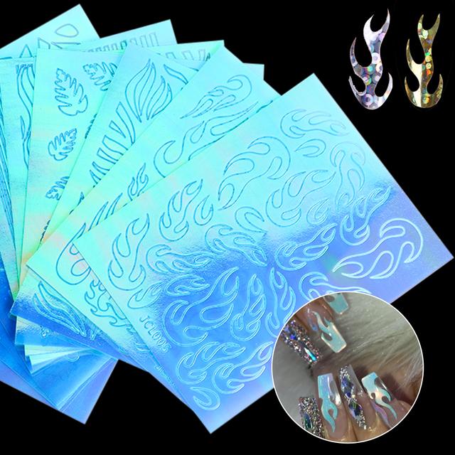 10pcs Flame Nail Sticker Vinyls 3D Fire Nail Holographic Strips Tape Decals Wraps DIY Hot Manicure Stencil Nail Design CH1526