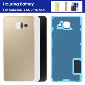 Back Battery Rear Glass Cover For Samsung Galaxy A5 2016 A510 A510F A510FD Back Battery Glass Cover Rear Door Housing Case