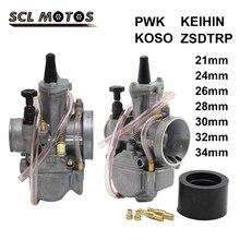 SCL MOTOS 2T/4T محرك دراجة نارية Keihin Koso PWK 21 24 26 28 30 32 34 مللي متر المكربن Carburador قطع الغيار للدرجة النارية مع الطاقة النفاثة
