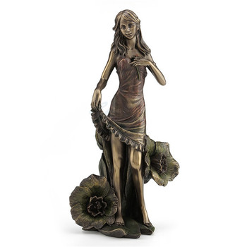 Creative Chill Casting Copper Girl Flower Leaf Art Sculpture Figure Statue Art&Craft Decorations For Home Birthday Gift R3372