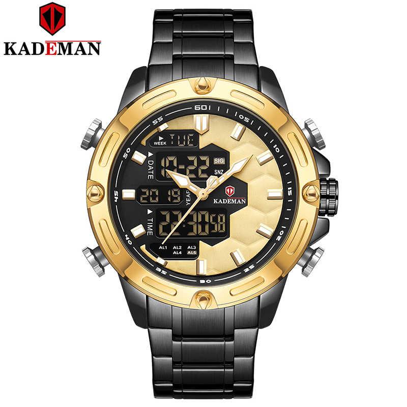 KADEMAN חדש כדורגל לעורר ספורט שעון יוקרה גברים אופנה מלא פלדת שעוני יד למעלה מותג כפולה תנועה LCD זכר שעון Relogio