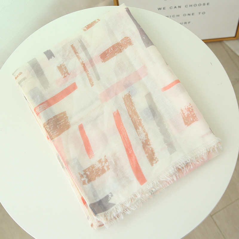 Geometric Cotton And Linen Scarf Travel Air Conditioning Sunscreen Shawl Beach Scarf Long Gauze Thin