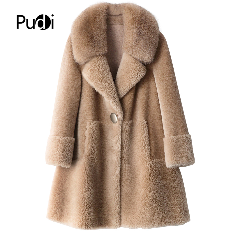 PUDI B404805 Women Winter 100% Real Wool Fur Real Fox Collar Warm Jacket Coat Lady Age Reduction Long Coat Jacket Overcoat