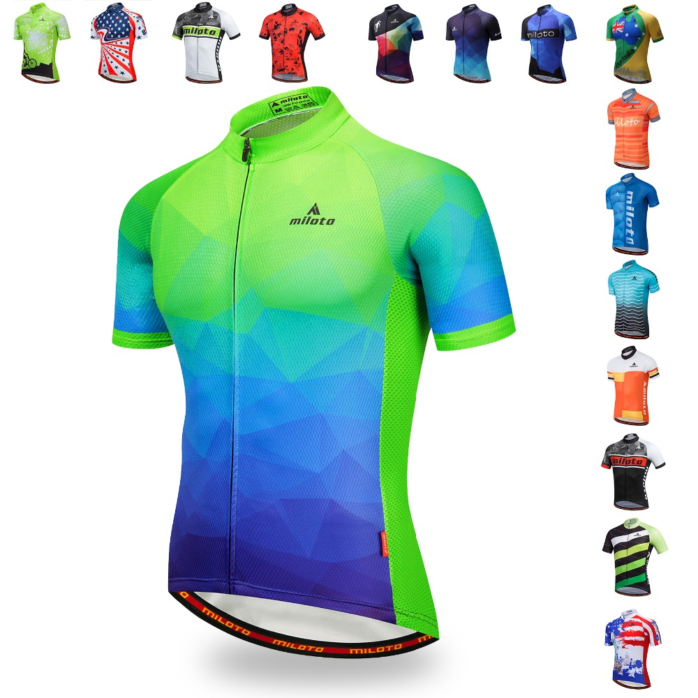 MILOTO Men Cycling Jersey Tops Summer Racing Bicycle Clothing Ropa Ciclismo Short Sleeve Mtb Bike Jersey Shirt Maillot Ciclismo